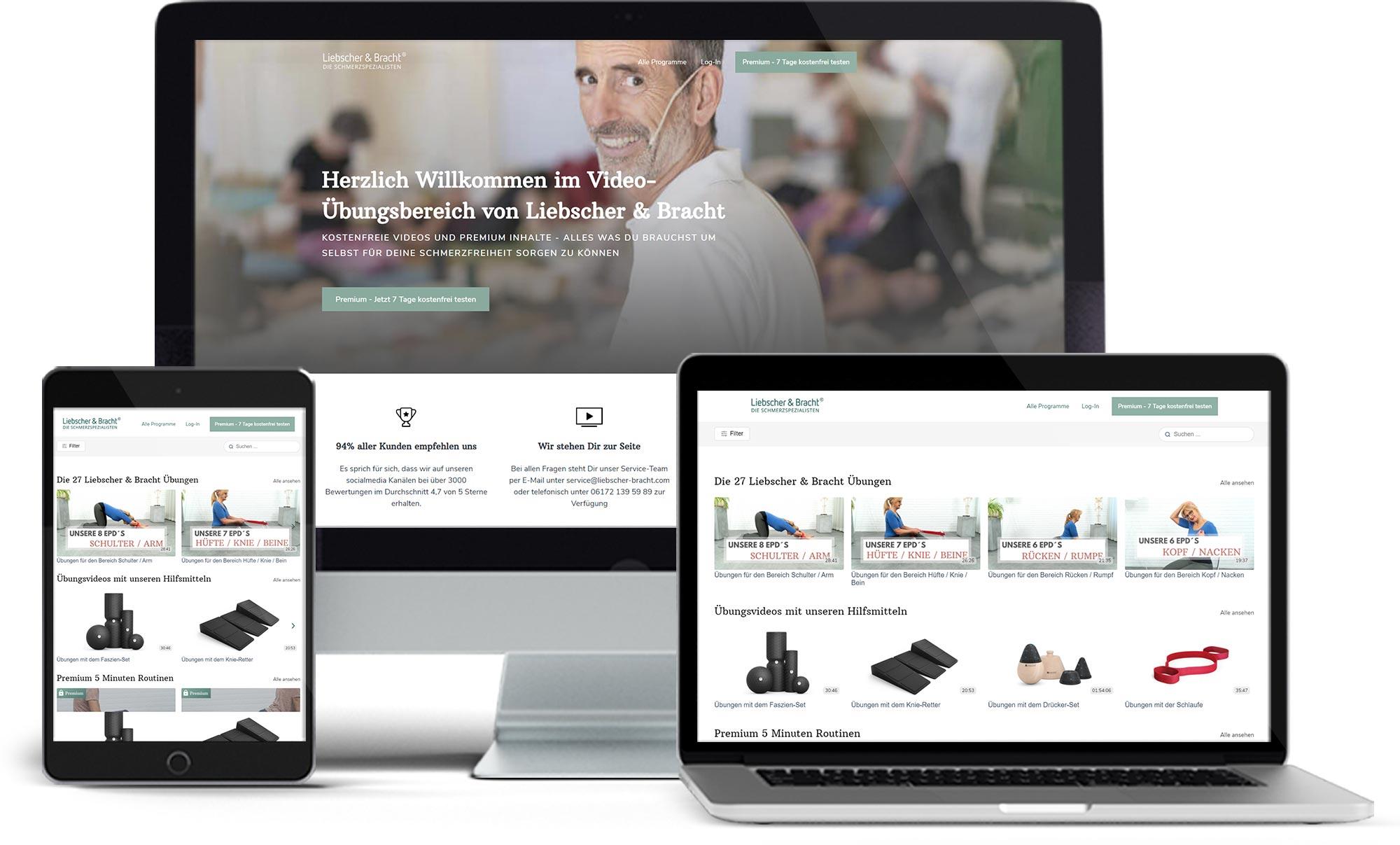 Darstellung des kostenfreien Übungsbereiches auf den 3 Endgeräten Desktop, Tablet und mobile.